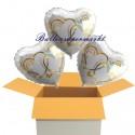 3 Herzluftballons zur Hochzeit/Goldhochzeit, Verschlungene Herzen in Gold, inklusive Helium