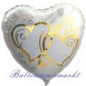 Verschlungene Herzen, gold, Folienballon, Herz inklusive Helium-Ballongas