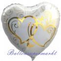 Verschlungene Herzen, Gold, Herz, Folienballon ohne Helium-Ballongas