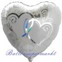 Verschlungene Herzen, silber, Folienballon, Herz inklusive Helium-Ballongas