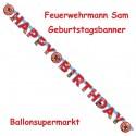 Feuerwehrmann Sam Geburtstagsgirlande, Buchstabengirlande Happy Birthday zum Kindergeburtstag