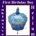 First Birthday Boy, Cupcake Luftballon aus Folie mit Helium zum 1. Geburtstag