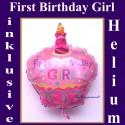 First Birthday Girl, Cupcake Luftballon aus Folie mit Helium zum 1. Geburtstag