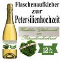 Flaschenaufkleber zur Petersilienhochzeit, Petersilienherz, 12½