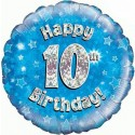 Luftballon aus Folie mit Helium, 10. Geburtstag, Blau, Junge