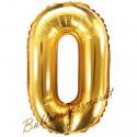 Zahlen-Luftballon aus Folie, 0, Gold, 35 cm