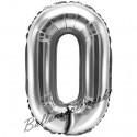 Zahlen-Luftballon aus Folie, 0, Silber, 35 cm