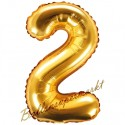 Zahlen-Luftballon aus Folie, 2, Gold, 35 cm