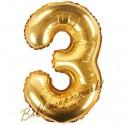 Zahlen-Luftballon aus Folie, 3, Gold, 35 cm