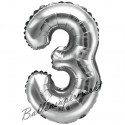 Zahlen-Luftballon aus Folie, 3, Silber, 35 cm