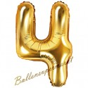 Zahlen-Luftballon aus Folie, 4, Gold, 35 cm