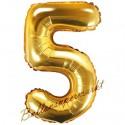 Zahlen-Luftballon aus Folie, 5, Gold, 35 cm