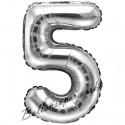 Zahlen-Luftballon aus Folie, 5, Silber, 35 cm