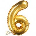 Zahlen-Luftballon aus Folie, 6, Gold, 35 cm