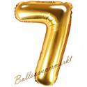 Zahlen-Luftballon aus Folie, 7, Gold, 35 cm