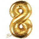 Zahlen-Luftballon aus Folie, 8, Gold, 35 cm