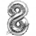 Zahlen-Luftballon aus Folie, 8, Silber, 35 cm