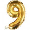 Zahlen-Luftballon aus Folie, 9, Gold, 35 cm