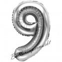 Zahlen-Luftballon aus Folie, 9, Silber, 35 cm