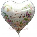 3D Ballon, Just Married, Heart Flowers, Luftballon zur Hochzeit inkl. Helium-Ballongas