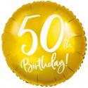 Luftballon aus Folie zum 50. Geburtstag, Zahl 50, Gold, ohne Helium