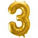 Zahlen-Luftballon aus Folie, 3, Gold, 86 cm