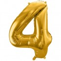 Zahlen-Luftballon aus Folie, 4, Gold, 86 cm