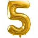 Zahlen-Luftballon aus Folie, 5, Gold, 86 cm