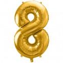 Zahlen-Luftballon aus Folie, 8, Gold, 86 cm