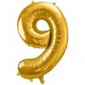 Zahlen-Luftballon aus Folie, 9, Gold, 86 cm