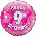 Luftballon aus Folie mit Helium, 9. Geburtstag, Pink, Mädchen
