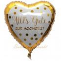 Alles Gute zur Hochzeit, Herzluftballon, Folienballon, inklusive Helium-Ballongas