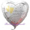 Alles Gute zur Hochzeit, Folienballon, Herz inklusive Helium-Ballongas