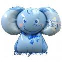 Luftballon aus Folie, Baby Boy Baby-Elefant, Es ist ein Junge, ohne Helium