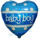 Herzluftballon zu Geburt, Taufe, Babyparty, Baby Boy, holografisch, Ballon mit Ballongas Helium