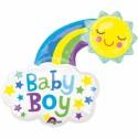 Baby Boy, glückliche Sonne, großer Folienballon zu Geburt, Taufe, Babyparty, ohne Helium