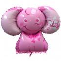 Luftballon aus Folie, Baby Girl Baby-Elefant, Es ist ein Mädchen, ohne Helium