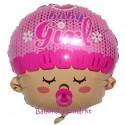 Luftballon zu Geburt und Taufe eines Mädchens, Baby Girl Head, Ballon mit Ballongas Helium