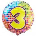 Luftballon aus Folie mit Helium, Birthday Blocks 3 zum 3. Geburtstag