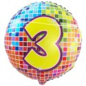 Luftballon aus Folie, Birthday Blocks 3 zum 3. Geburtstag