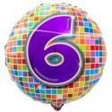 Luftballon aus Folie mit Helium, Birthday Blocks 6 zum 6. Geburtstag