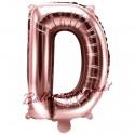 Buchstaben-Luftballon aus Folie, D, Rosegold, 35 cm