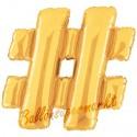 Buchstaben-Luftballon aus Folie, #, Hashtag/Raute, Gold, 100 cm groß inklusive Helium