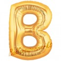Buchstaben-Luftballon aus Folie, B, Gold, 100 cm groß inklusive Helium