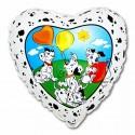 Dalmatiner Luftballon, Herzluftballon mit Dalmatinern, Folienballon mit Ballongas