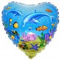 Delfin Luftballon, Herzluftballon mit Delfinen, Folienballon mit Ballongas