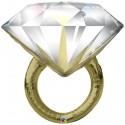 Großer Hochzeitsballon, Diamond Wedding Ring, Ehering, Folienballon, inklusive Helium-Ballongas