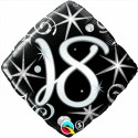 Luftballon aus Folie, Birthday Elegant 18, zum 18. Geburtstag, mit Helium