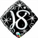 Luftballon aus Folie zum 18.Geburtstag, Birthday Elegant 18, ohne Helium