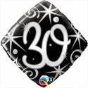 Luftballon aus Folie, Birthday Elegant 30, zum 30. Geburtstag, mit Helium